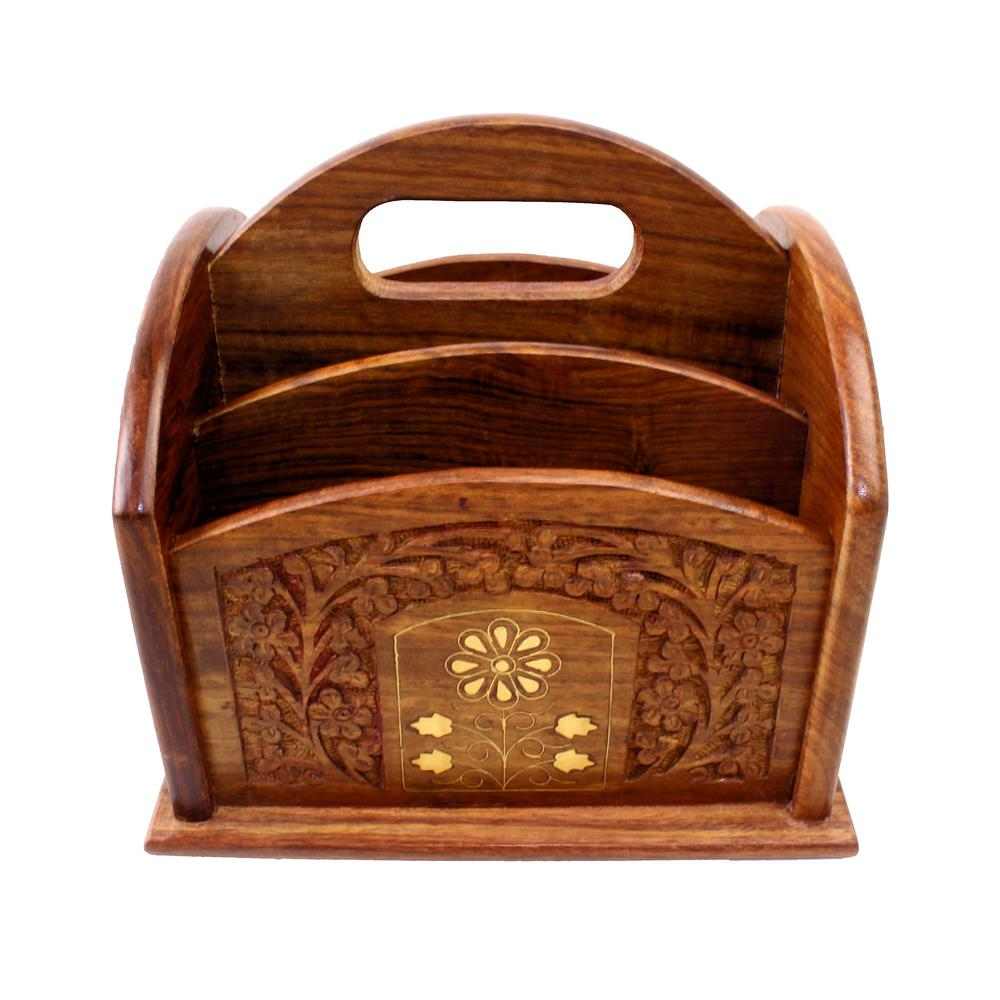 View Item Remote Control Stand Hand Carved Wooden Holder Organiser TV Caddy 5 Compartments