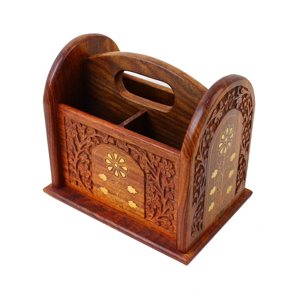 View Item Remote Control Stand Hand Carved Wooden Holder Organiser TV Caddy 3 Compartments