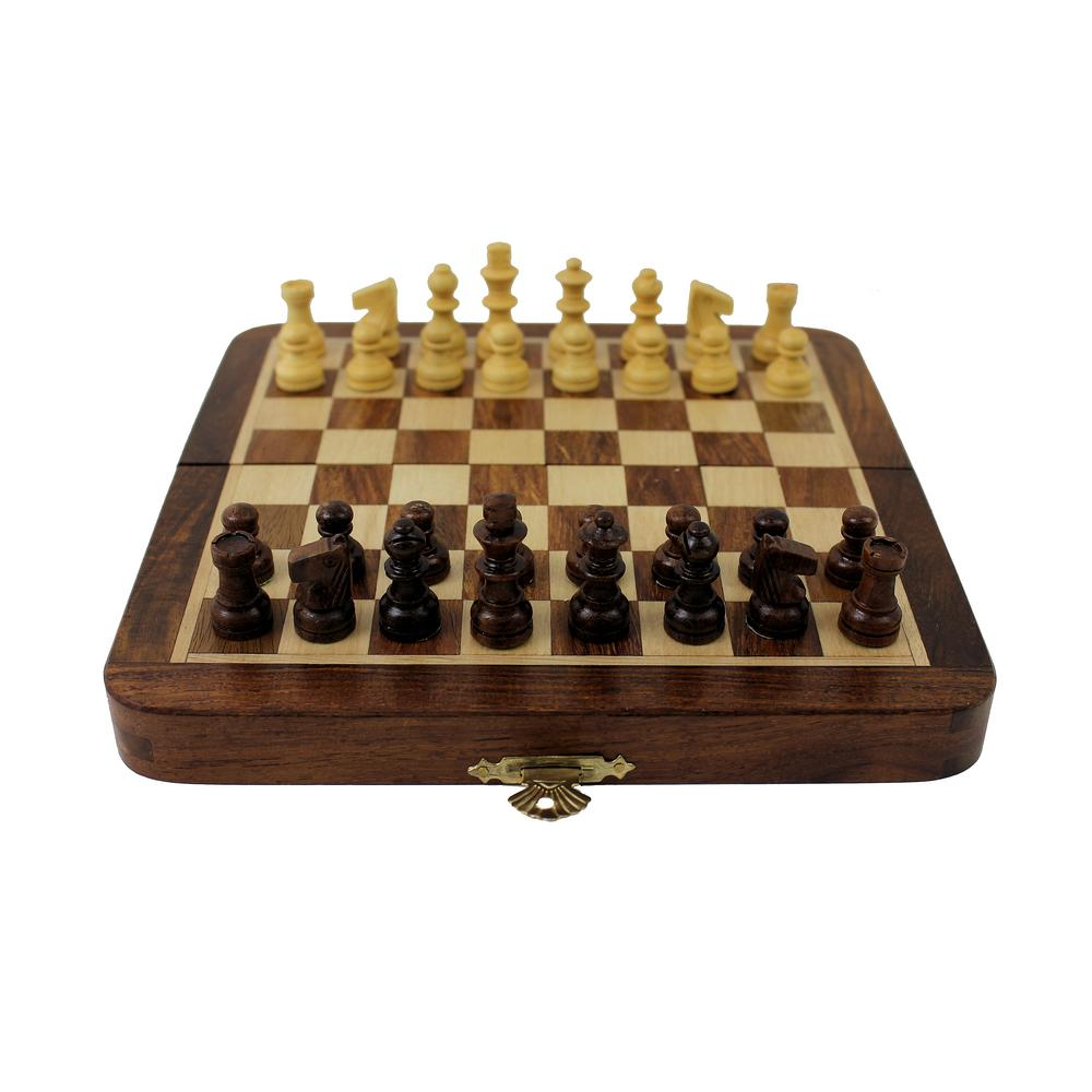 Portable Exhibition Game : Travel chess set wooden board magnetic game vintage
