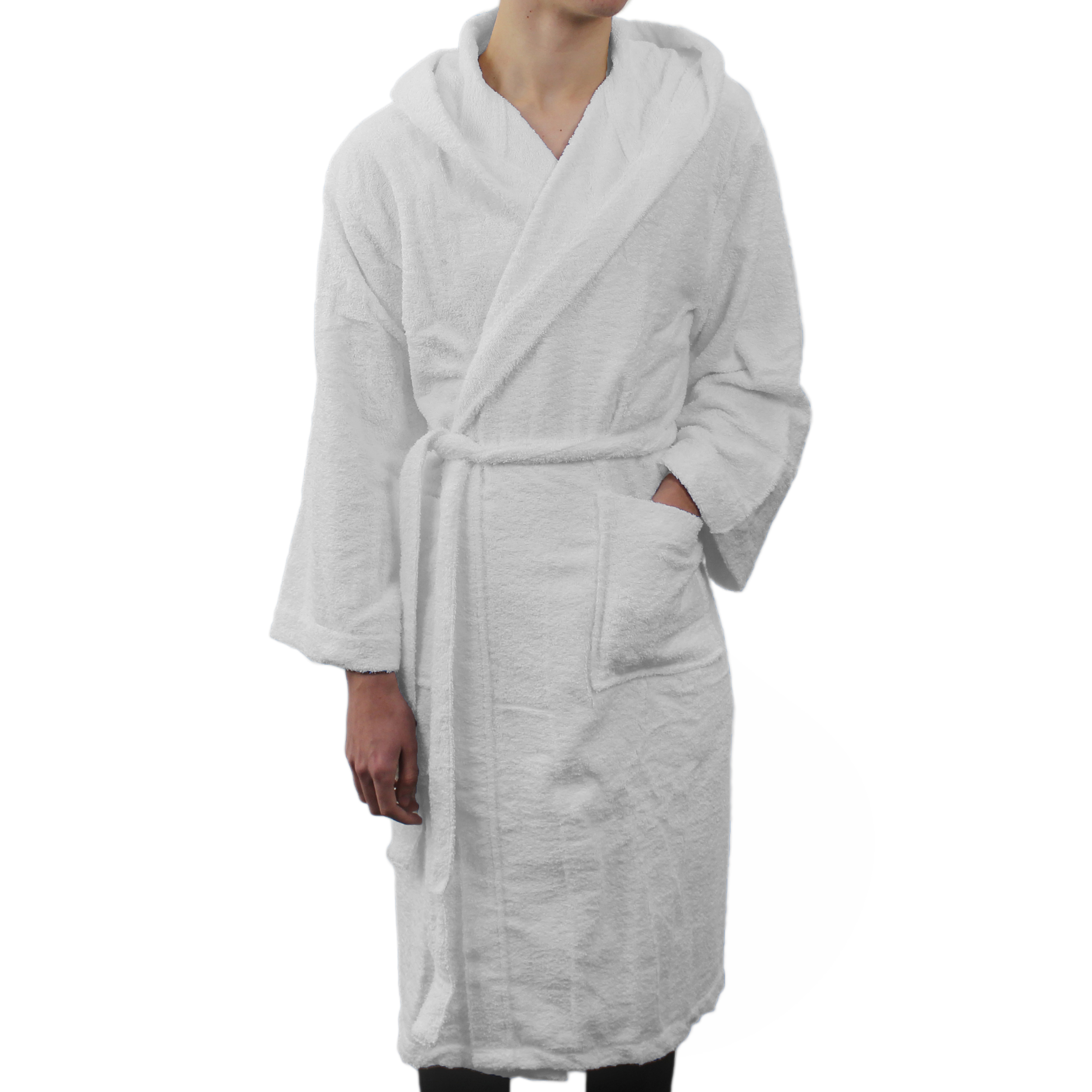 Details about Hooded Bath Robe Frette Genuine Italian 100% Cotton Soft  Dressing Gown White S M 116410a35d38