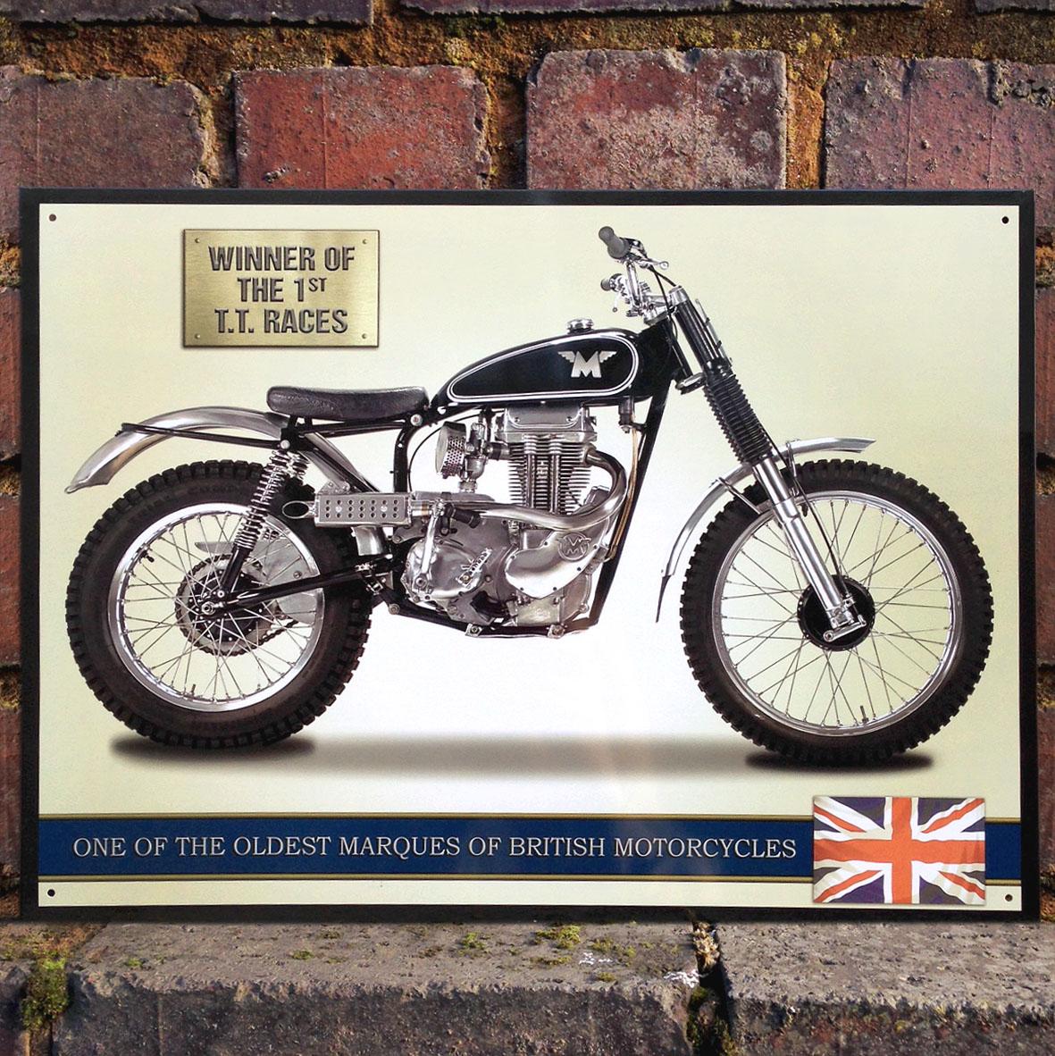 Matchless g3c motorcycle sign vintage metal plaque garage for Plaque garage w