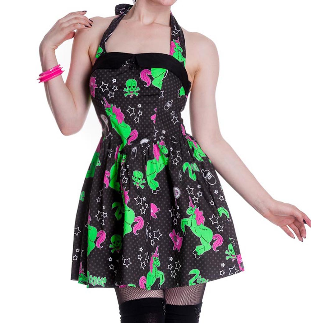 HELL-BUNNY-Party-HEART-ZOMBIES-DRESS-Mini-BLACK-All-Sizes thumbnail 19