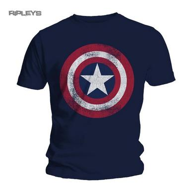 Official T Shirt CAPTAIN AMERICA Distressed SHIELD All Sizes