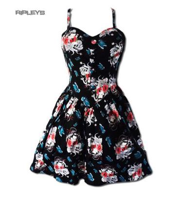 HELL BUNNY Black MINI DRESS Geisha Flowers YOGI All Sizes
