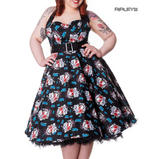 HELL BUNNY Floral 50s DRESS Blue Rockabilly GEISHA All Sizes Thumbnail 1
