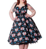 HELL BUNNY Floral 50s DRESS Blue Rockabilly GEISHA All Sizes Thumbnail 2