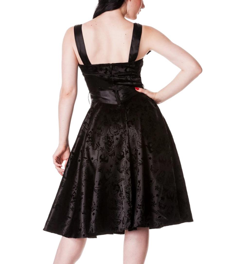 HELL-BUNNY-Rockabilly-Dress-TATTOO-FLOCK-50s-BLACK-Swallows thumbnail 3