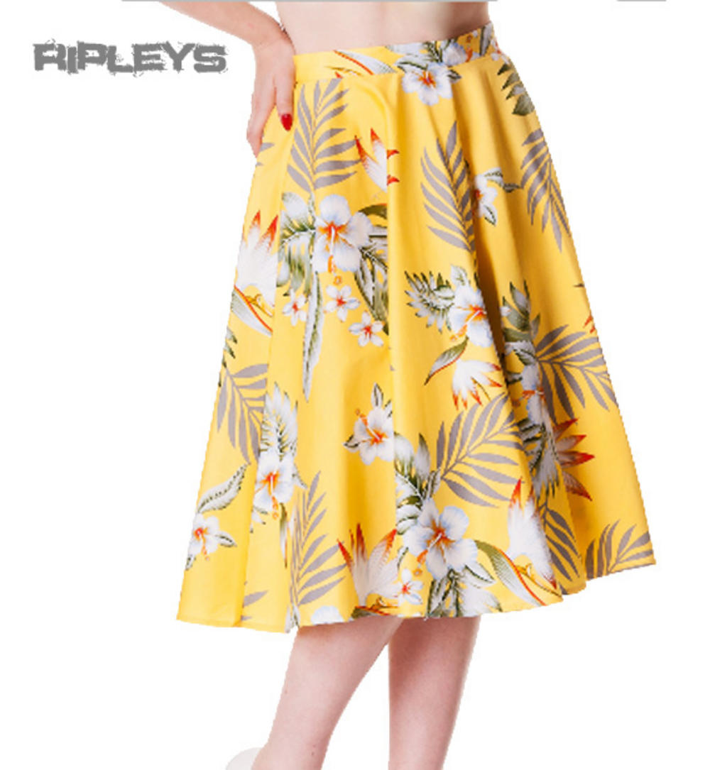 0c236ebfb3 HELL BUNNY 50s Floral CANDY SKIRT Hawaii Spring/Summer YELLOW All Sizes