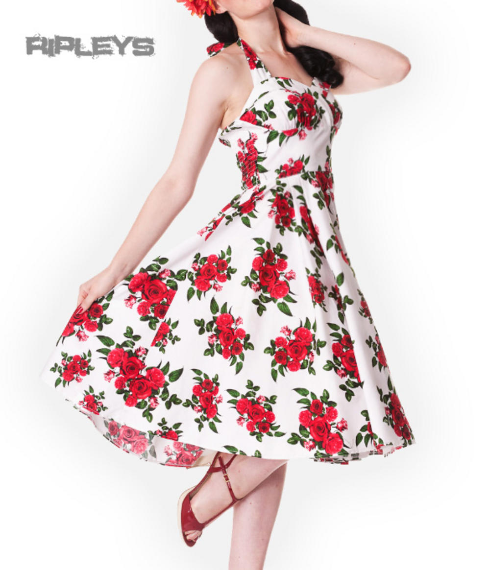 81b98cf201b HELL BUNNY 50s DRESS Flowers CANNES White Rockabilly Pin Up Floral All Sizes