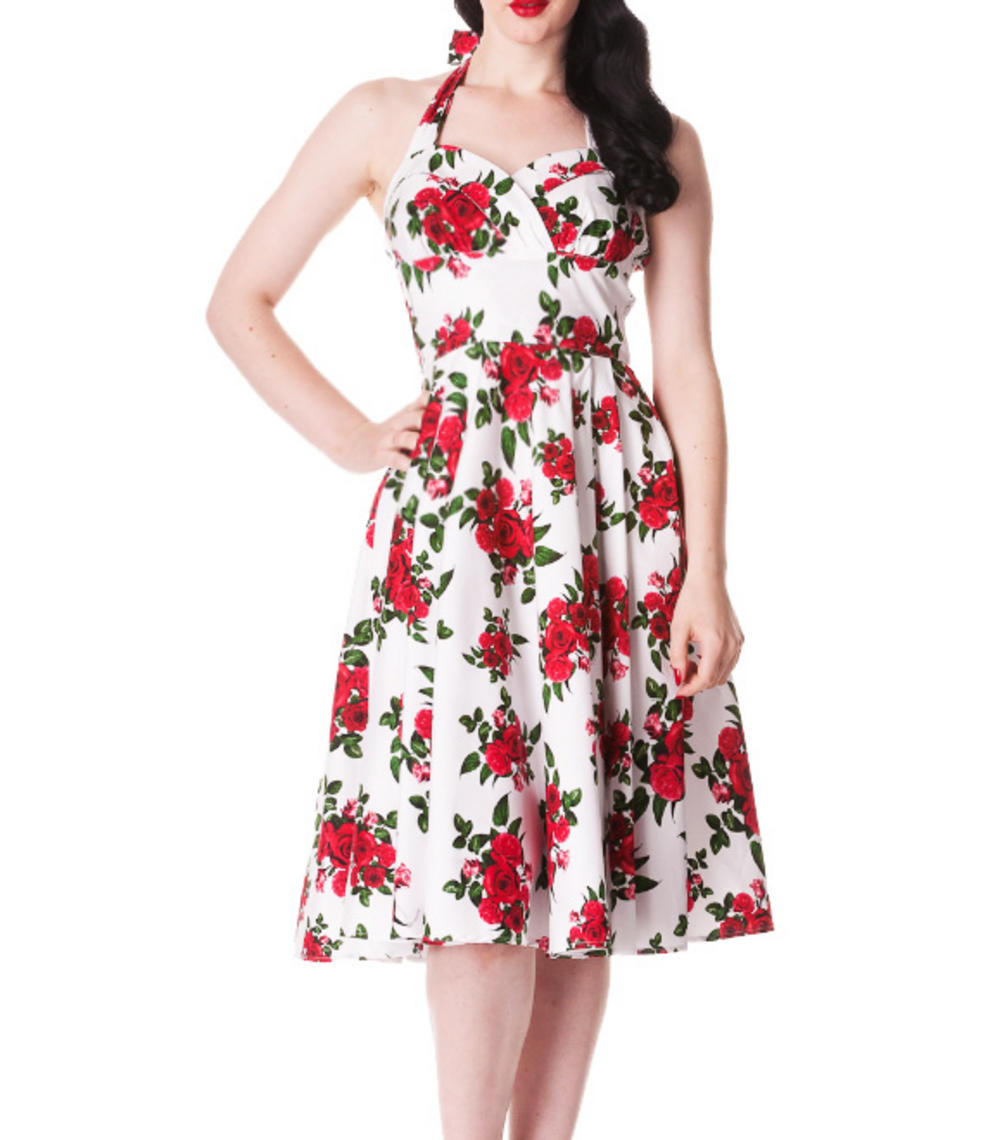 65c018e12b7e HELL BUNNY 50s DRESS Flowers CANNES White Rockabilly Pin Up Floral All Sizes