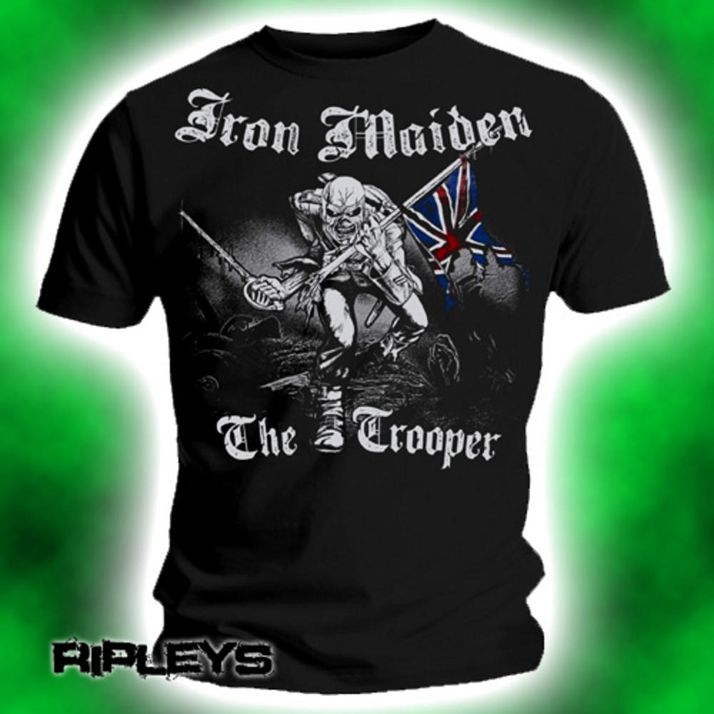 Iron Maiden T Shirt Sketched Trooper Eddie Band Logo Official Mens Black XL T