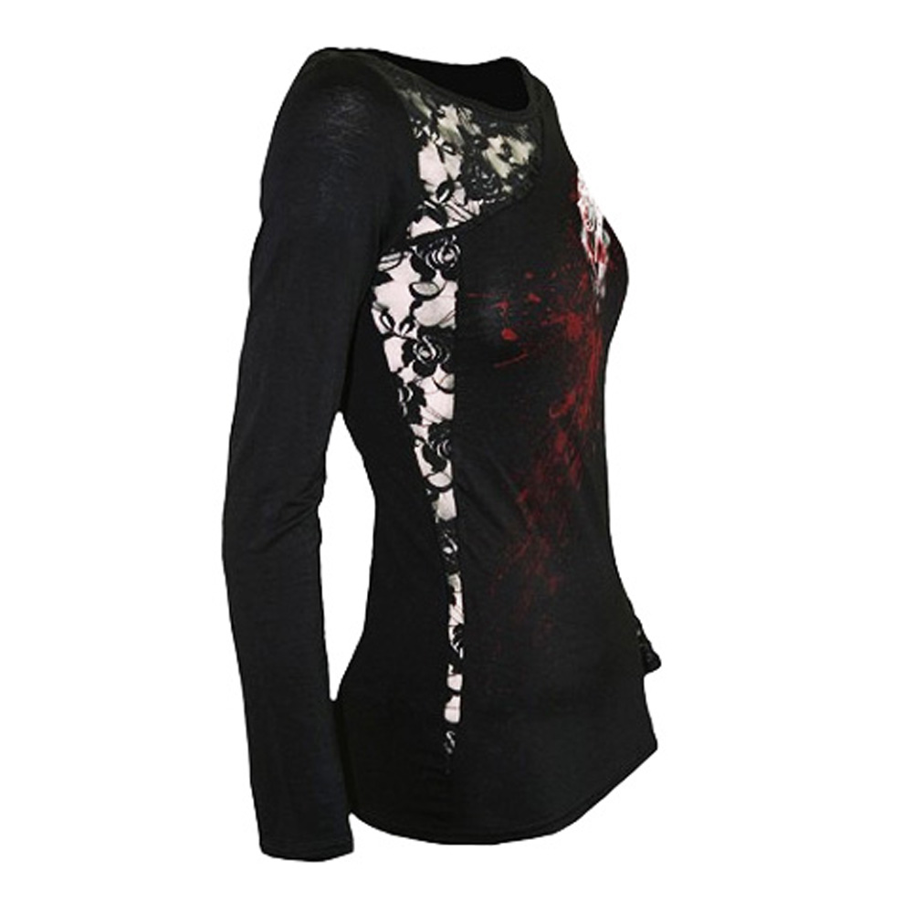 SPIRAL-DIRECT-Ladies-Black-Goth-WHITE-ROSE-Lace-Top-L-Sleeve-All-Sizes thumbnail 9