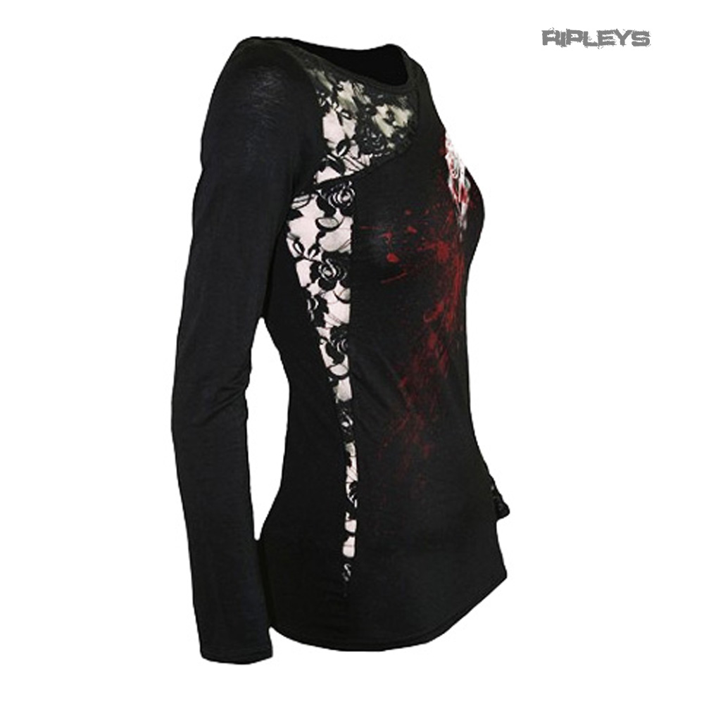 SPIRAL-DIRECT-Ladies-Black-Goth-WHITE-ROSE-Lace-Top-L-Sleeve-All-Sizes thumbnail 8