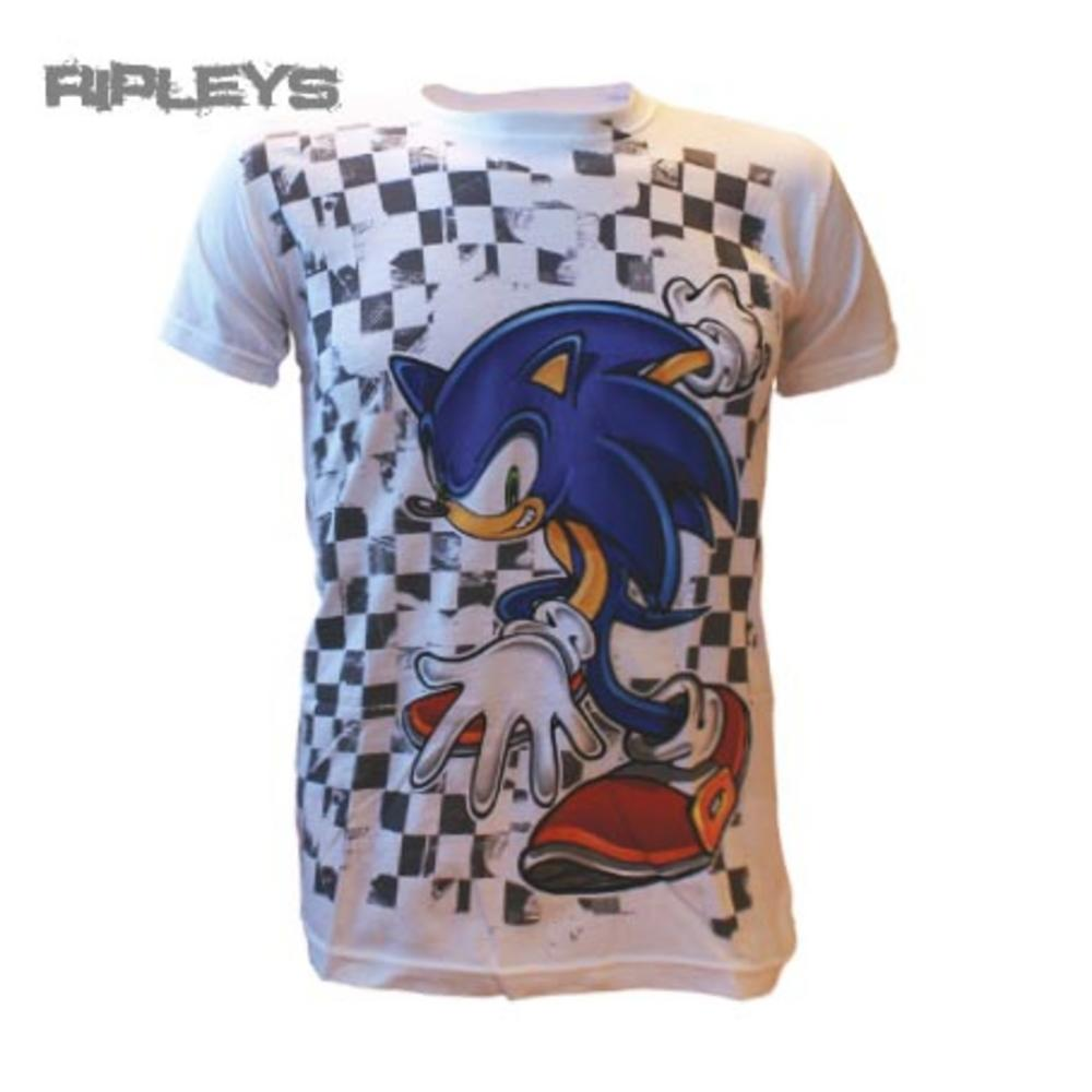 Official T Shirt Sonic The Hedgehog Grey Checkered Vintage All Sizes