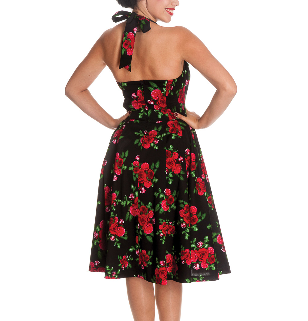 HELL-BUNNY-50s-DRESS-Flowers-CANNES-Rockabilly-Pin-Up-BLACK-Floral-All-Sizes thumbnail 5
