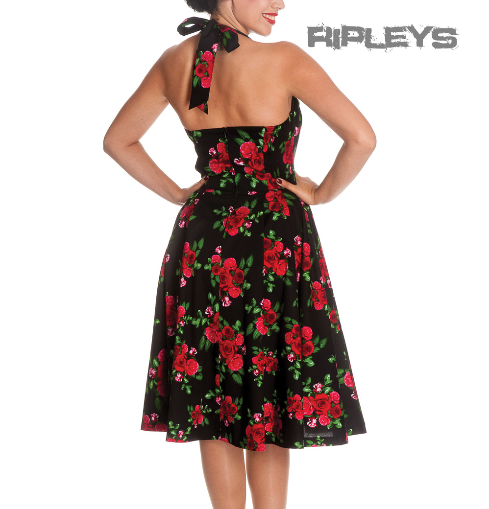 HELL-BUNNY-50s-DRESS-Flowers-CANNES-Rockabilly-Pin-Up-BLACK-Floral-All-Sizes thumbnail 4