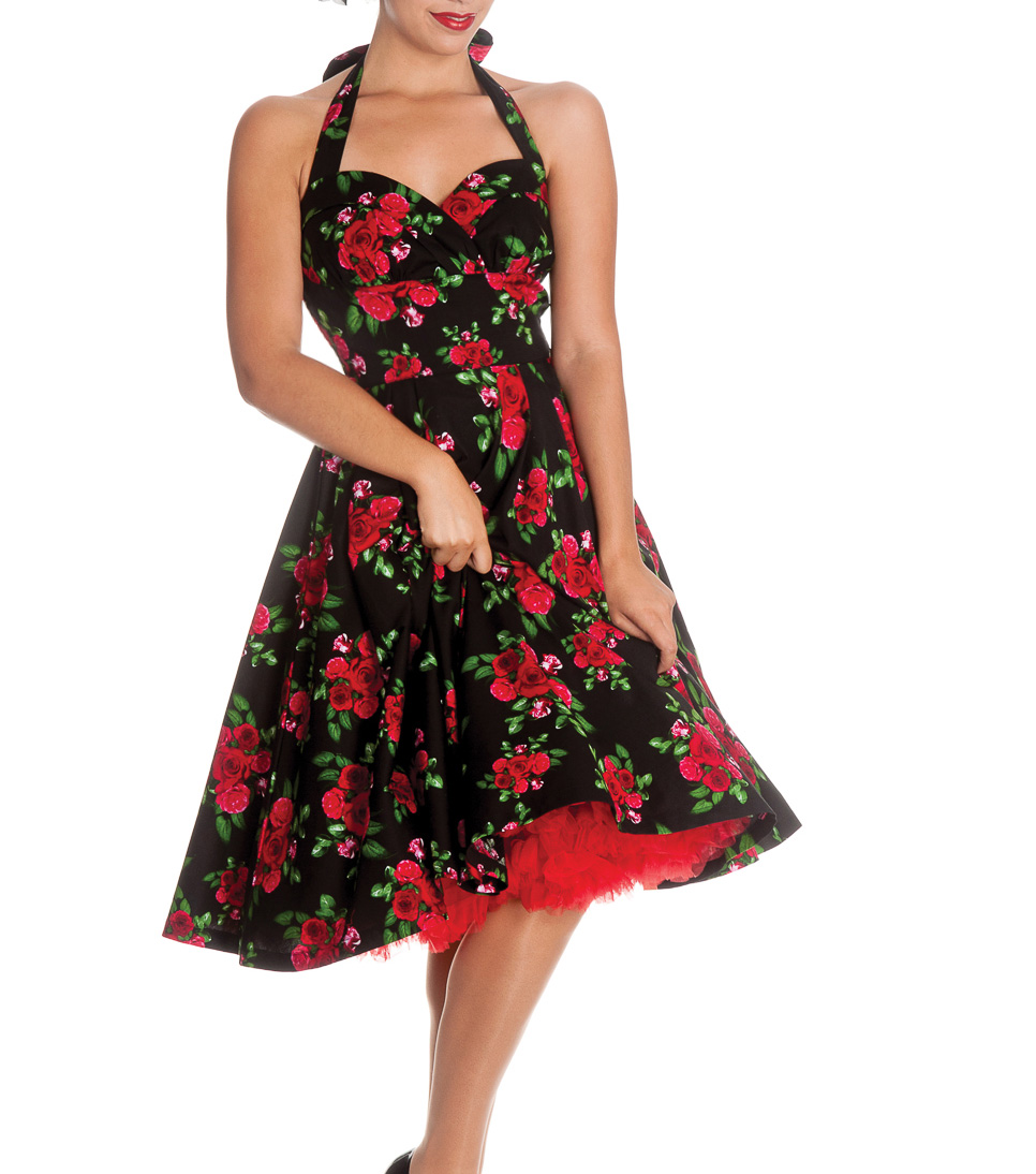 HELL-BUNNY-50s-DRESS-Flowers-CANNES-Rockabilly-Pin-Up-BLACK-Floral-All-Sizes thumbnail 3