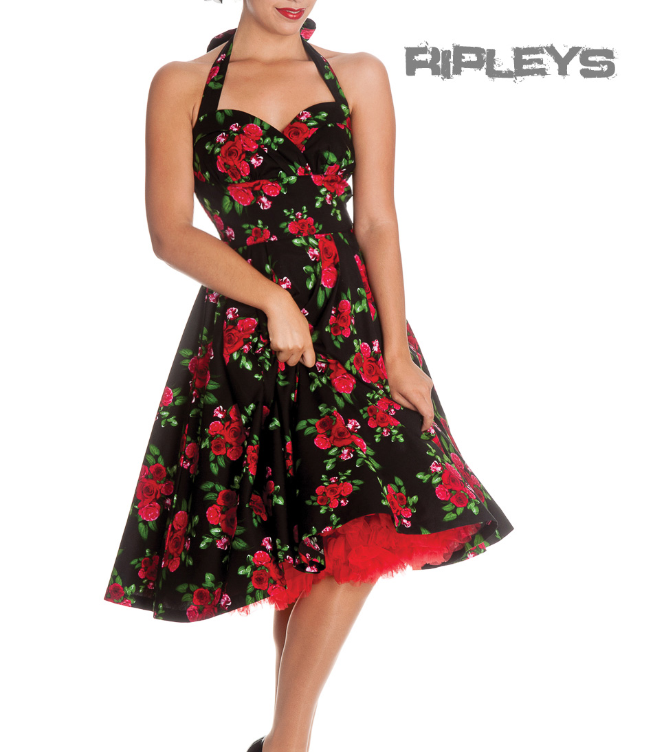 HELL-BUNNY-50s-DRESS-Flowers-CANNES-Rockabilly-Pin-Up-BLACK-Floral-All-Sizes thumbnail 2