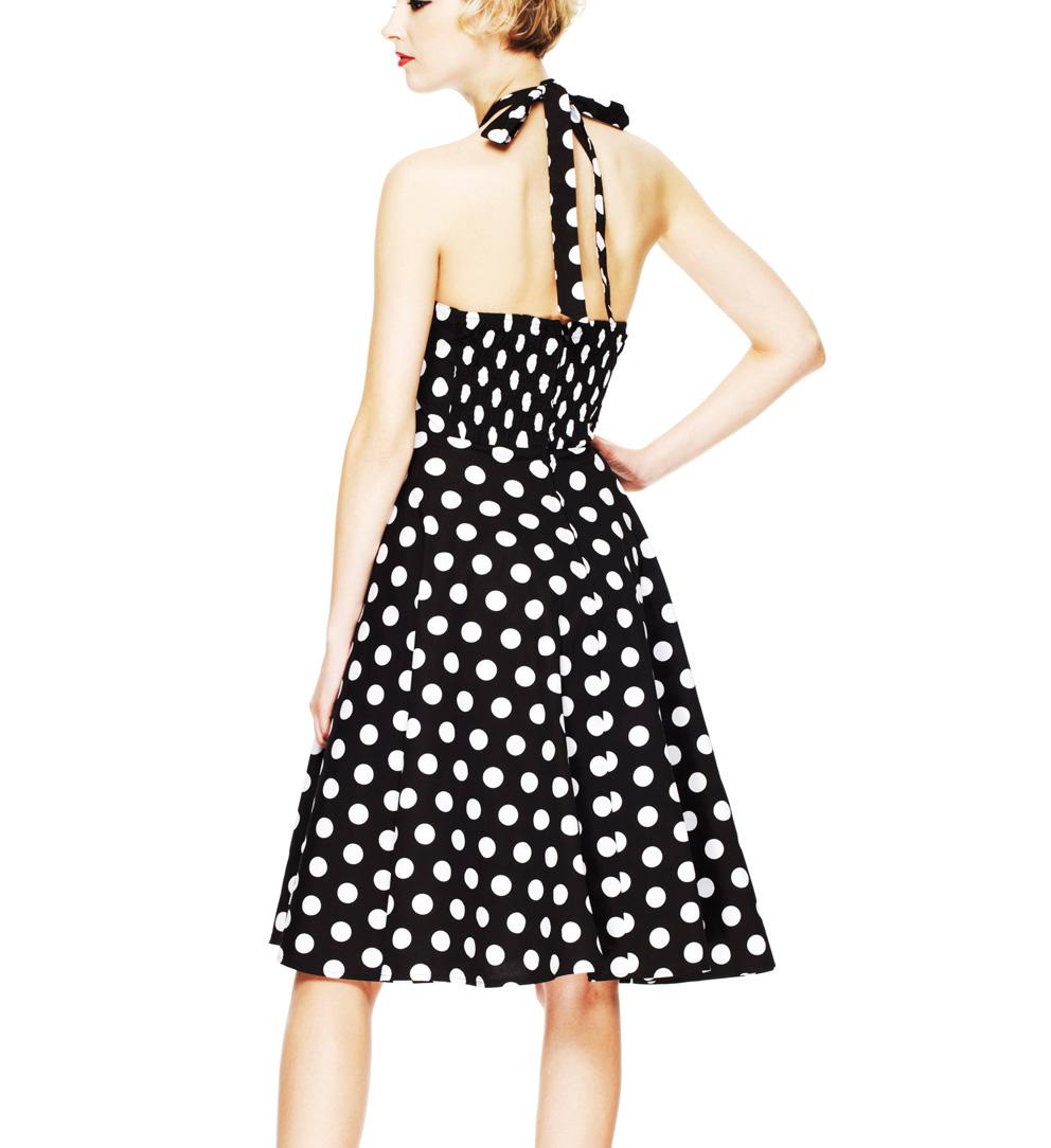 HELL-BUNNY-Polka-Dot-50s-Dress-MARIAM-Pin-Up-Prom-Black-White-All-Sizes thumbnail 5