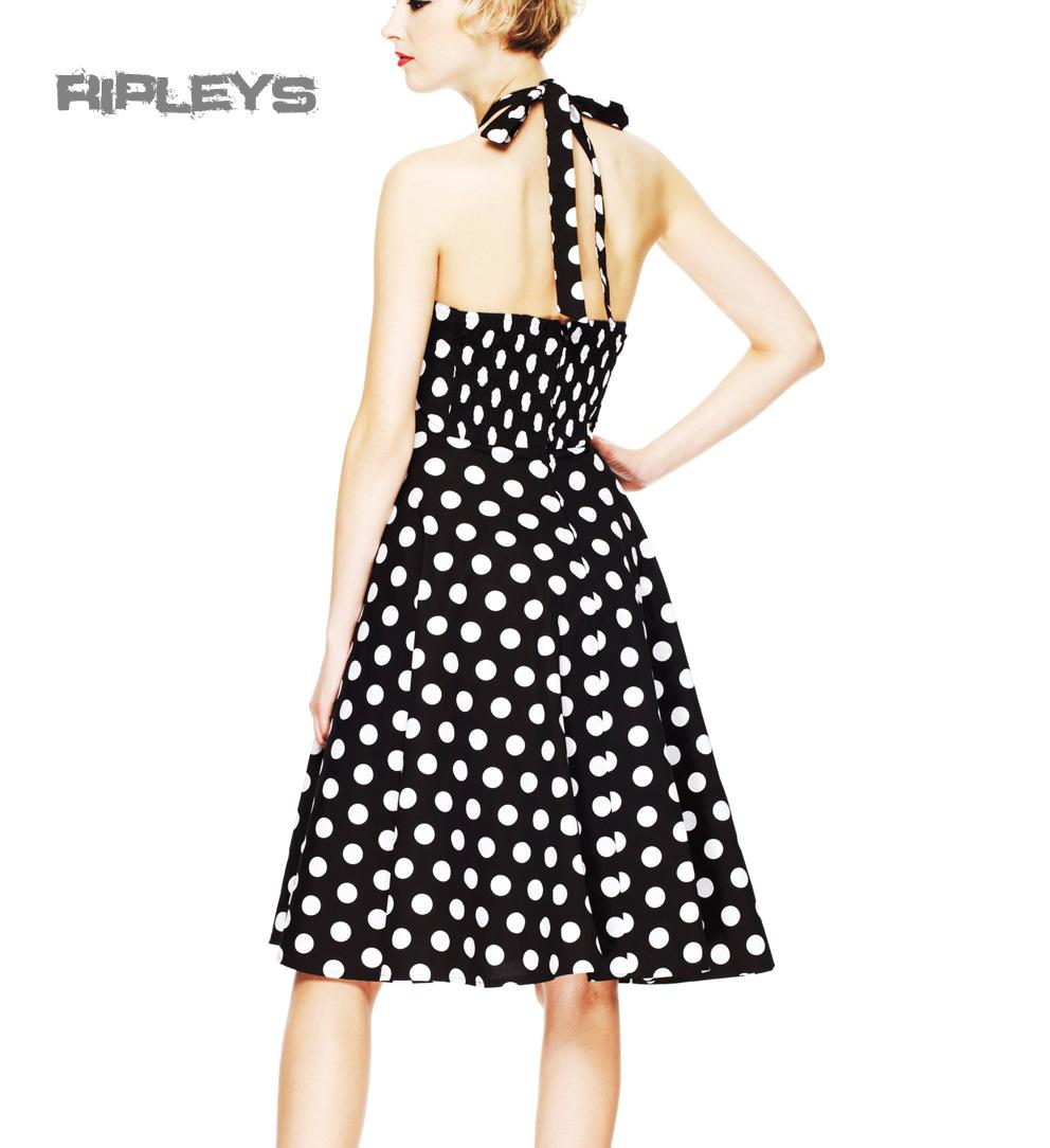 HELL-BUNNY-Polka-Dot-50s-Dress-MARIAM-Pin-Up-Prom-Black-White-All-Sizes thumbnail 4