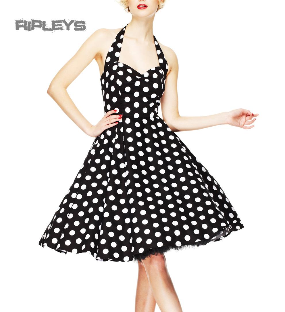 HELL-BUNNY-Polka-Dot-50s-Dress-MARIAM-Pin-Up-Prom-Black-White-All-Sizes thumbnail 2