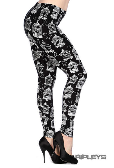 BANNED Punk Goth Black LEGGINGS Crow BIRD CAGE All Sizes
