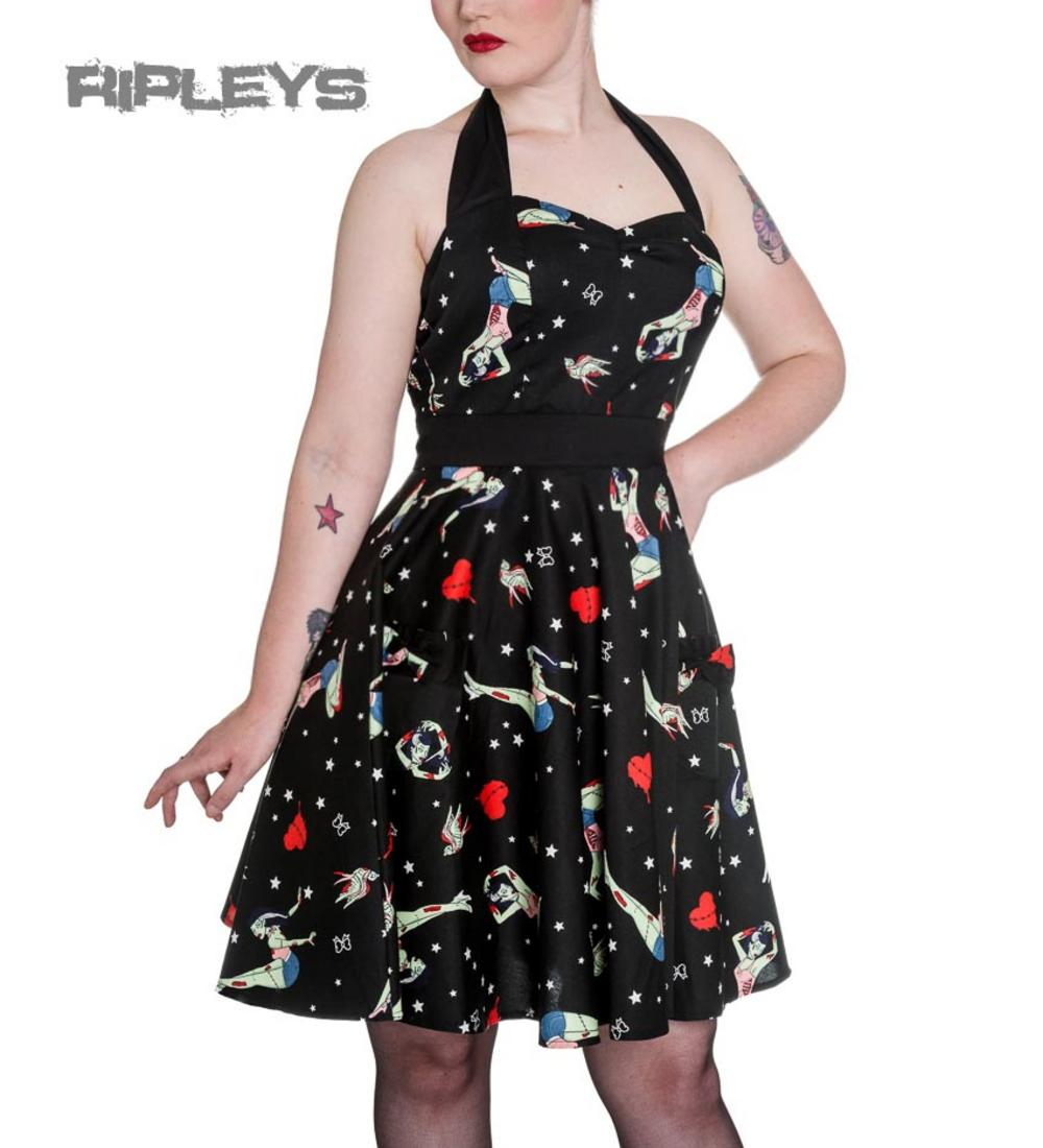All About Abbie Pin Up Girl Clothing: HELL BUNNY Black FOREVER DEAD Mini Dress Zombie Pinup