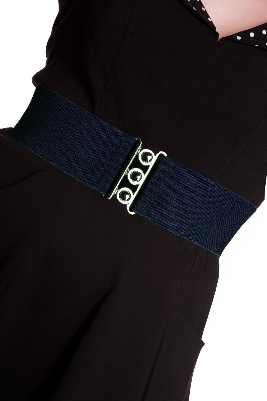 HELL-BUNNY-Retro-50s-Waist-BELT-Rockabilly-Elasticated-Navy-Blue-All-Sizes thumbnail 3
