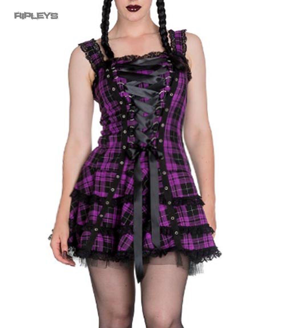 HELL-BUNNY-Club-MINI-DRESS-HARLEY-Tartan-PURPLE-Goth-Punk-All-sizes thumbnail 10