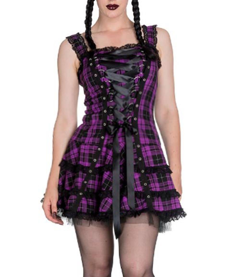 HELL-BUNNY-Club-MINI-DRESS-HARLEY-Tartan-PURPLE-Goth-Punk-All-sizes thumbnail 3