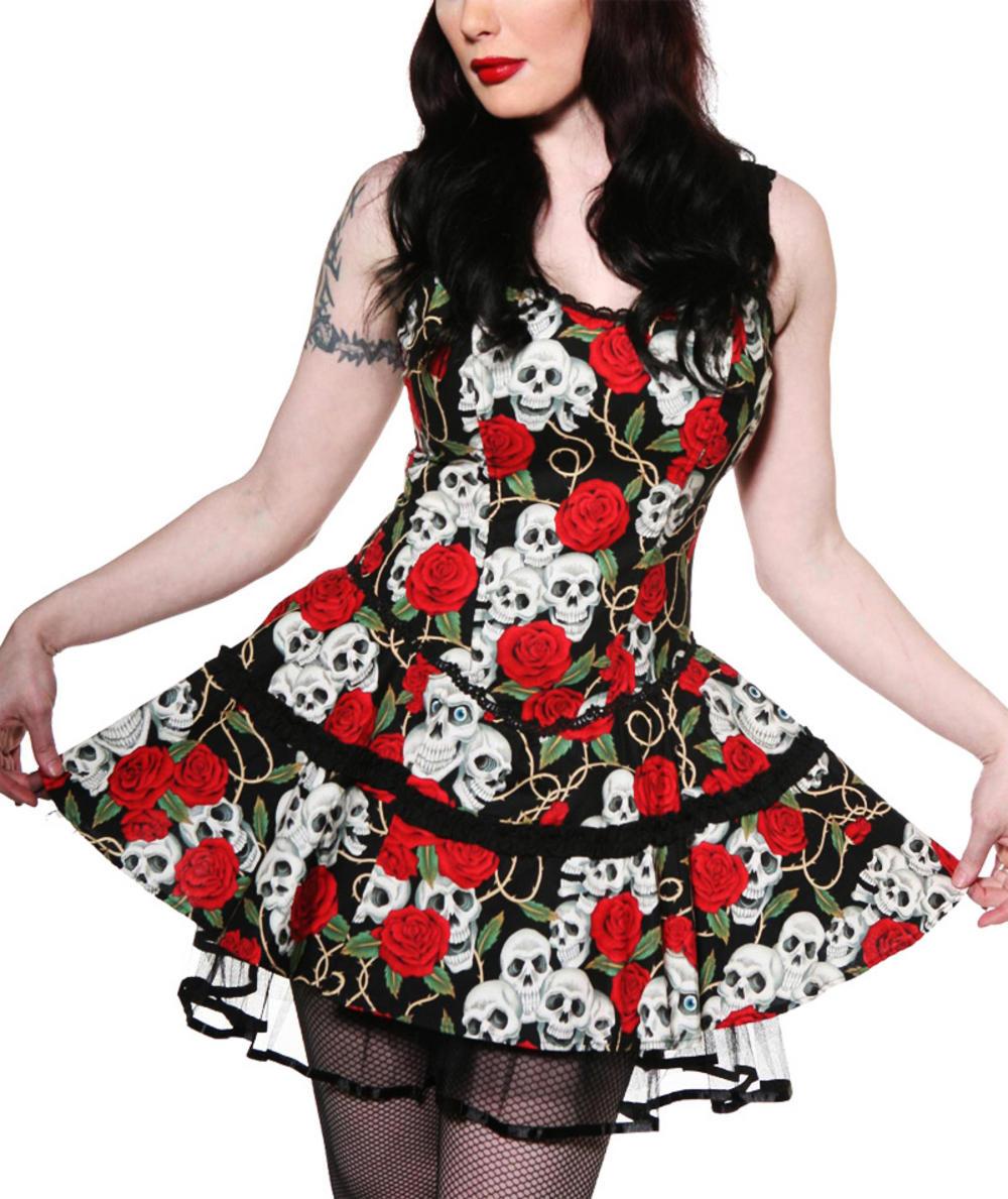 LIVING-DEAD-SOULS-Banned-Skulls-Roses-DRESS-Mini-BLACK thumbnail 3