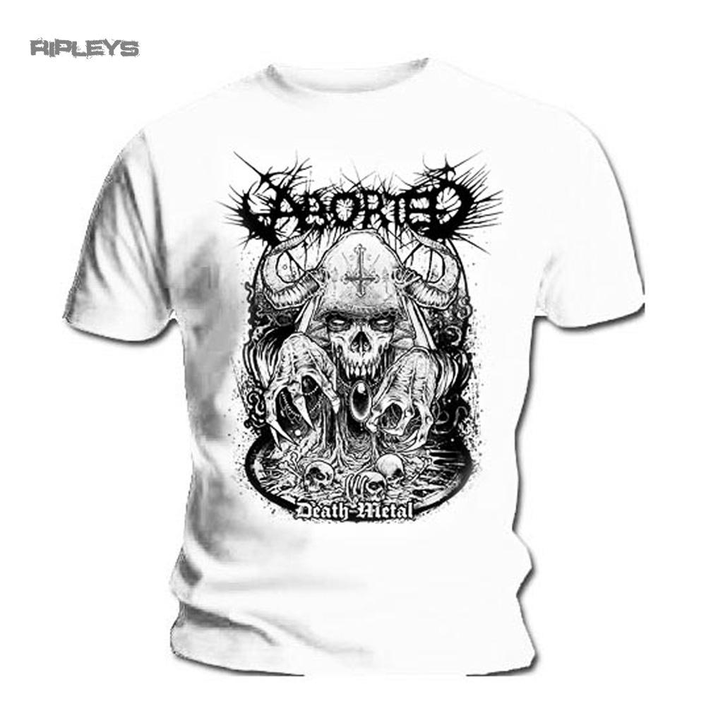 ef0ffed9 Official T Shirt ABORTED Black Death Metal NECROMANCER White All Sizes