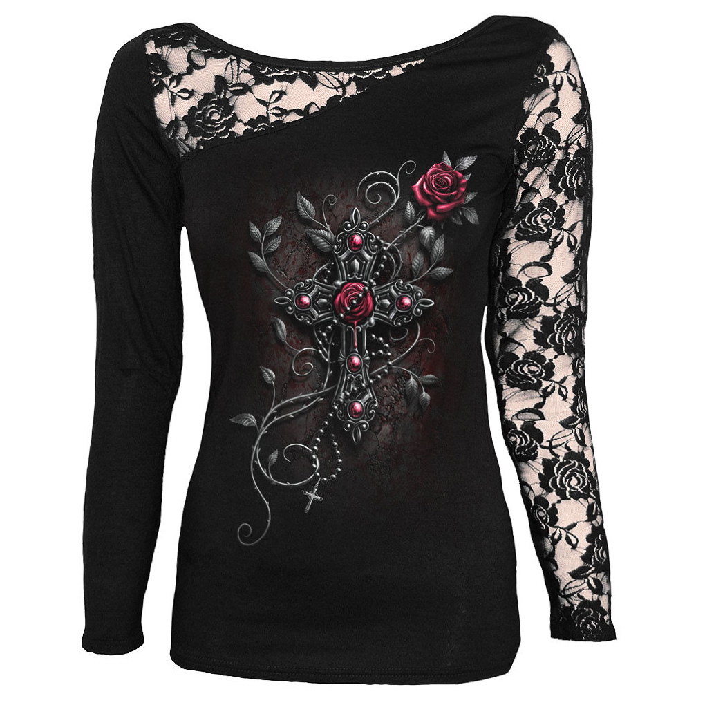SPIRAL-DIRECT-Ladies-Black-Goth-ANGEL-BEADS-Lace-Top-L-Sleeve-All-Sizes thumbnail 3