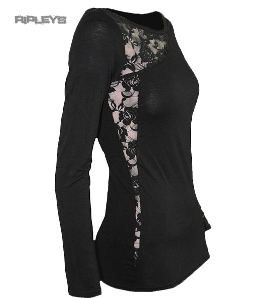 SPIRAL-DIRECT-Ladies-Black-Goth-ANGEL-BEADS-Lace-Top-L-Sleeve-All-Sizes thumbnail 4