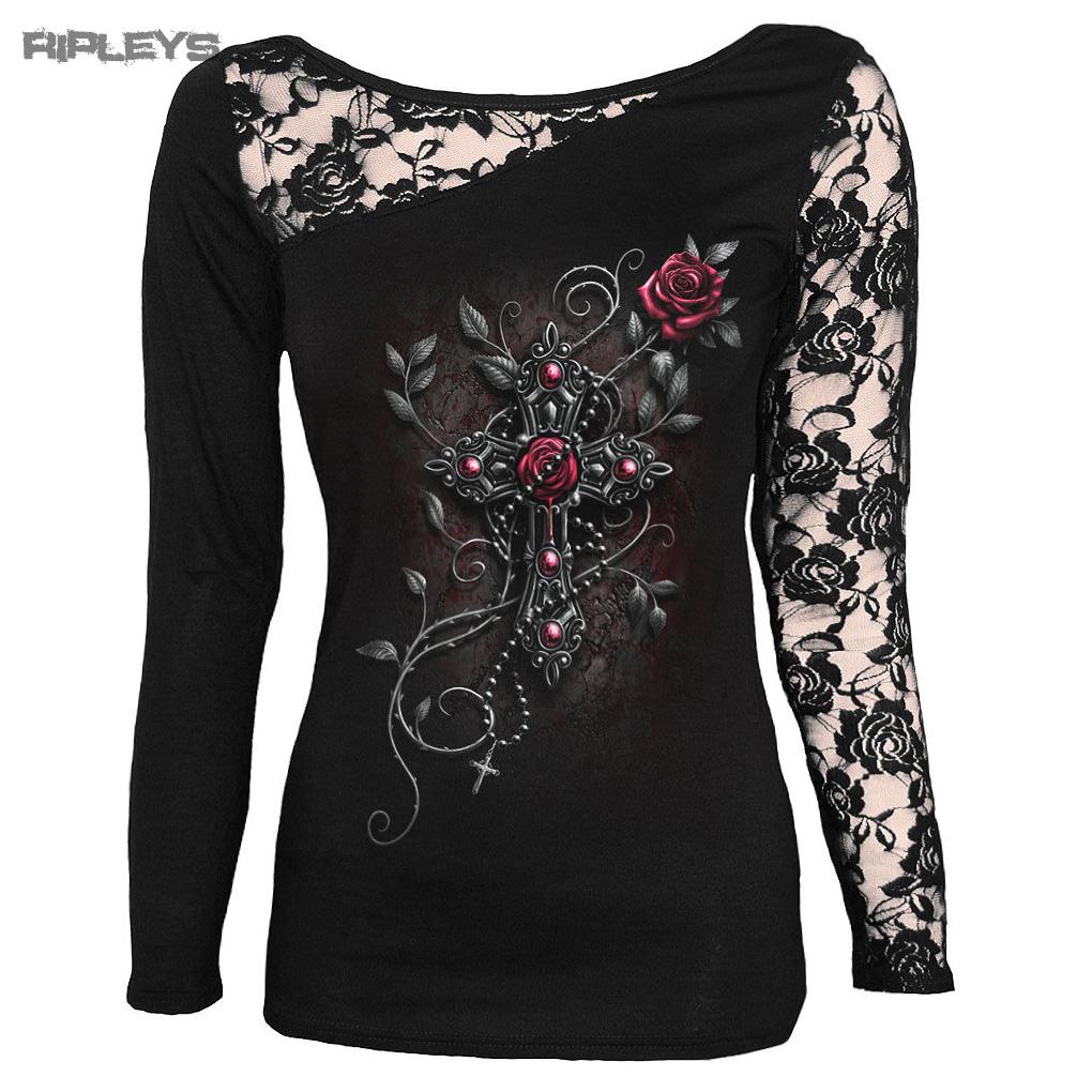 Espiral-directo-Ladies-negro-gotico-Angel-cuentas-parte-superior-de-encaje-l-sleeve-Todos-Los