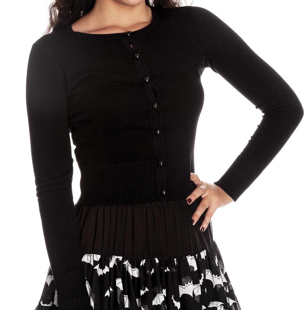 57967609cf Sentinel HELL BUNNY Ladies PALOMA 50s Plain Cardigan Top Black All Sizes