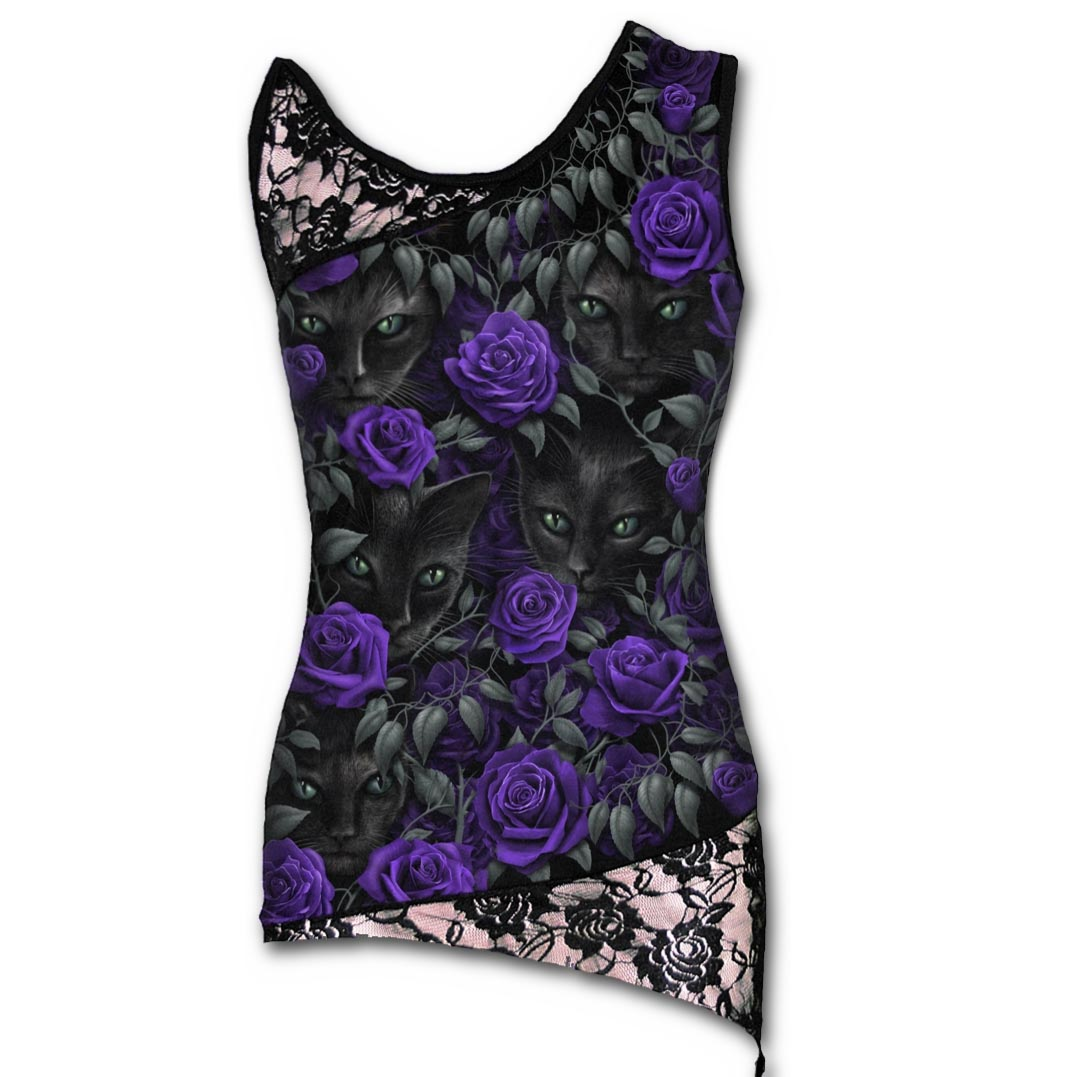 SPIRAL-DIRECT-Ladies-Black-Goth-WATCHERS-Lace-Vest-Top-Cat-Rose-All-Sizes thumbnail 3