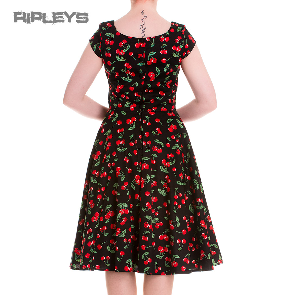 HELL-BUNNY-Pinup-Black-50s-Dress-CHERRY-POP-Pie-Rockabilly-All-Sizes thumbnail 11