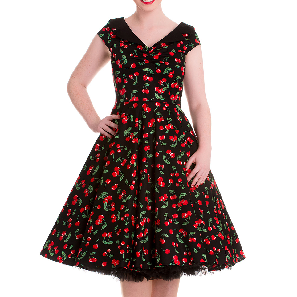 HELL-BUNNY-Pinup-Black-50s-Dress-CHERRY-POP-Pie-Rockabilly-All-Sizes thumbnail 6