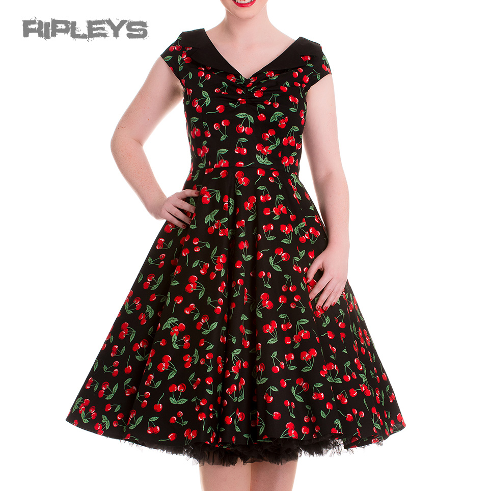 HELL-BUNNY-Pinup-Black-50s-Dress-CHERRY-POP-Pie-Rockabilly-All-Sizes thumbnail 4
