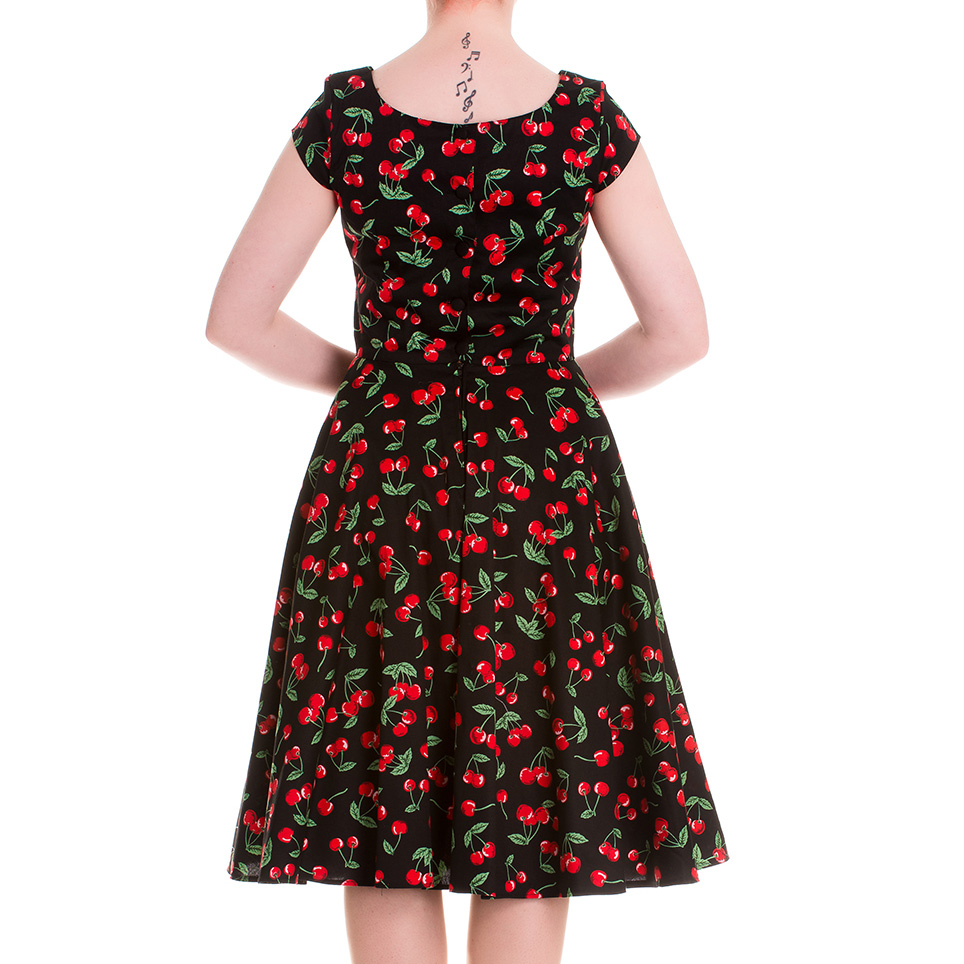HELL-BUNNY-Pinup-Black-50s-Dress-CHERRY-POP-Pie-Rockabilly-All-Sizes thumbnail 7