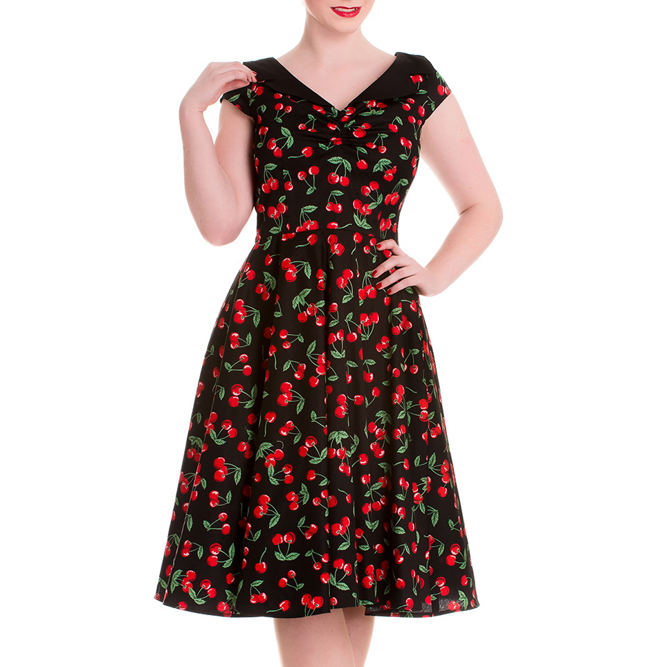 HELL-BUNNY-Pinup-Black-50s-Dress-CHERRY-POP-Pie-Rockabilly-All-Sizes thumbnail 3