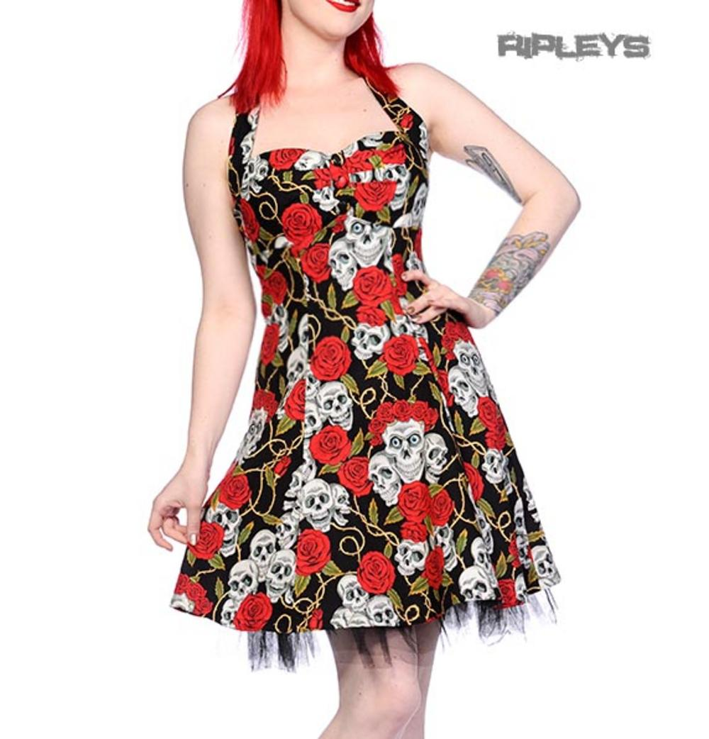 Banned Mini Dress Goth Black Skulls Roses 2 Button Rockabilly All