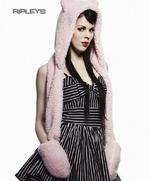 HELL BUNNY Kitty GLOVES Long SHAGGY HAT Scarf Goth Emo PINK Thumbnail 1