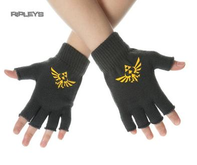Official ZELDA Nintendo Game Grey Logo Crest Fingerless Gloves One Size
