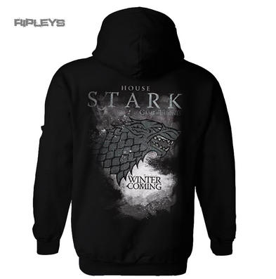 Official GAME OF THRONES Hoody Houses BLACK House Stark Zip All Sizes