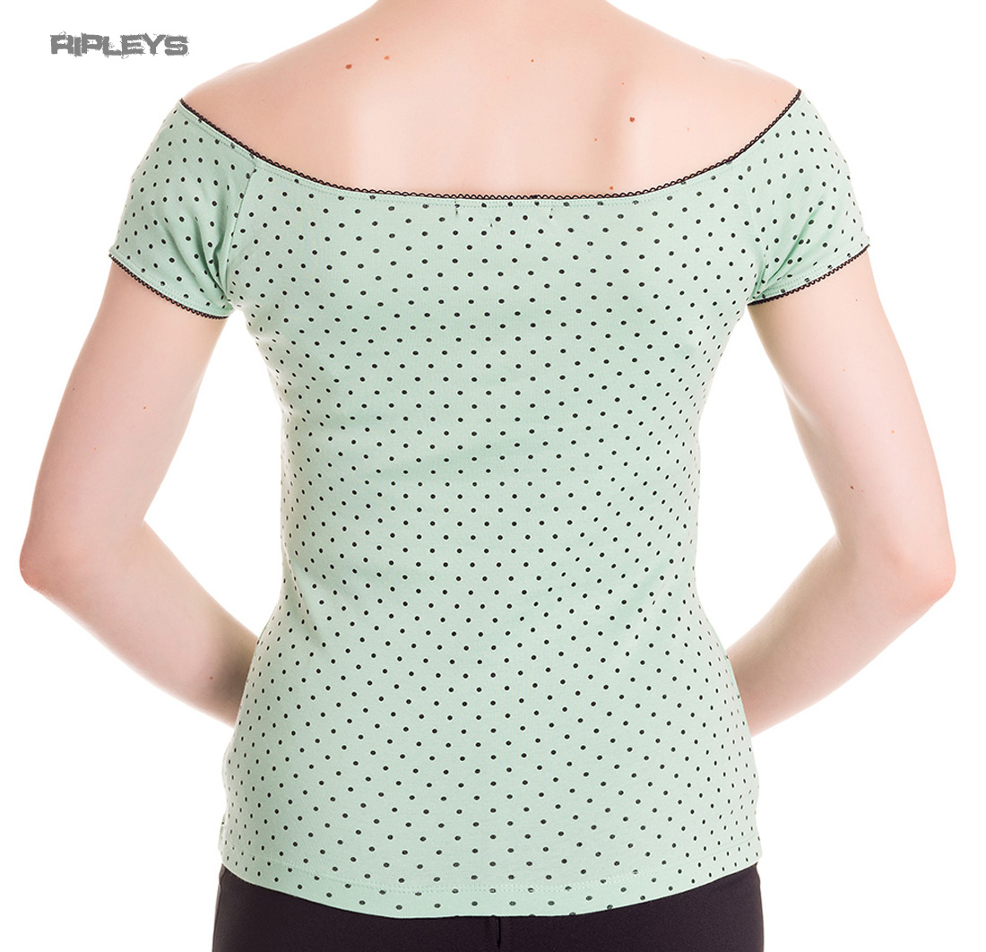 miniatura 15 - HELL BUNNY Shirt Rockabilly Top CILLA Polka Dot MINT Green 50s All Sizes