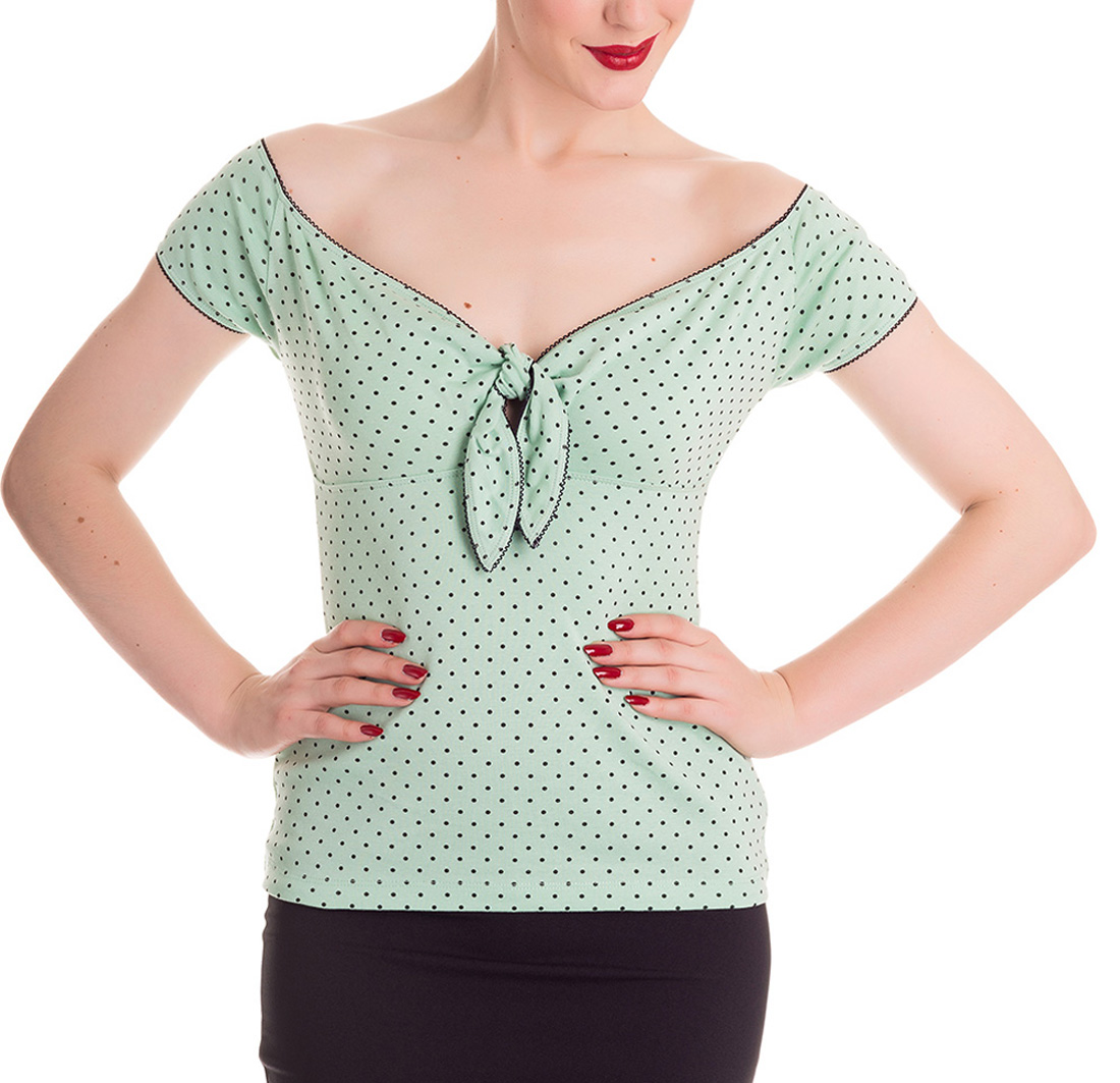 miniatura 30 - HELL BUNNY Shirt Rockabilly Top CILLA Polka Dot MINT Green 50s All Sizes