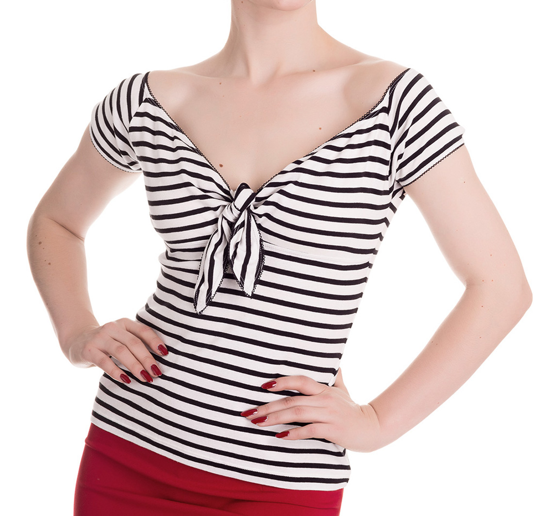 HELL-BUNNY-Shirt-50s-Top-DOLLY-Stripe-Sailor-Black-White-All-Sizes thumbnail 3