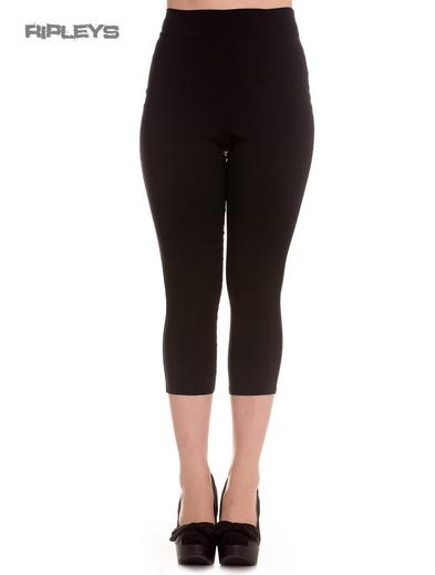 Hell Bunny 50s Plain Black Pedal Pushers TINA Capris Capri Trousers All Sizes